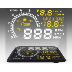 TRIO 5.5'' OBD2 HUD Head Up Display KM/h & MPH, Speeding & Fuel Display