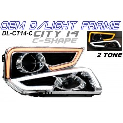Honda City 14-16 Fog Lamp Cover with C Shape Daylight Frame Bar 2 Tone